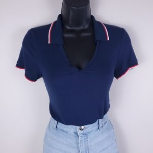 American Eagle soft&sexy navy collared v neck ss